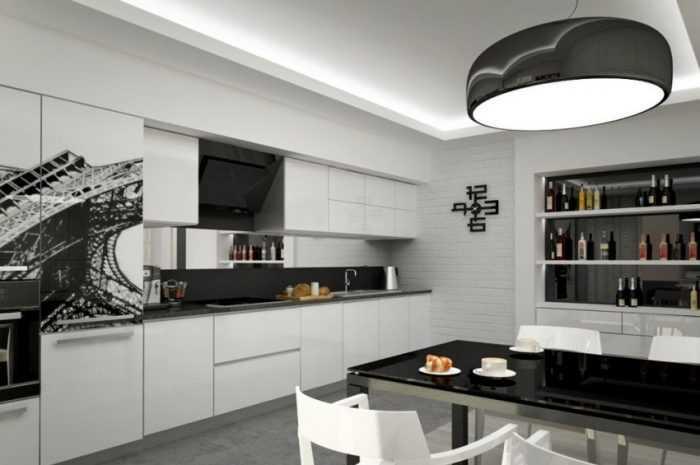 Черно-белая кухня — полезные советы по обустройству. Выбор и сочетание оттенков в интерьере + фото примеров