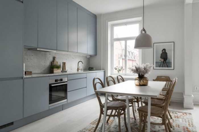 Голубой цвет кухни — идеи сочетания голубого цвета на кухне + 130 фото-обзоров с вариантами декора