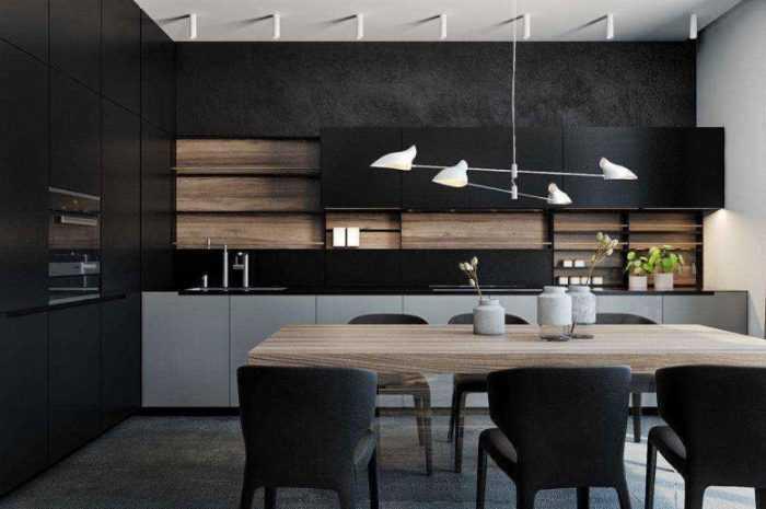 Кухня черного цвета — правила использования черного цвета на кухне. Выбор комбинации оттенков в интерьере + фото примеров