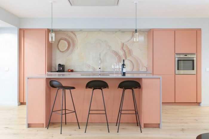 Кухня персикового цвета: 100 фото лучших примеров оформления. Цветовые комбинации в интерьере кухни, выбор мебели