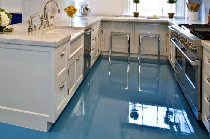 Наливной пол на кухне: ТОП-140 фото идей применения в дизайне. Плюсы и минусы наливного пола в интерьере кухни
