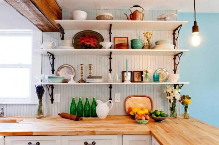 Открытые полки на кухне: ТОП-130 фото идей использования на кухне. Плюсы и минусы открытых полок в интерьере