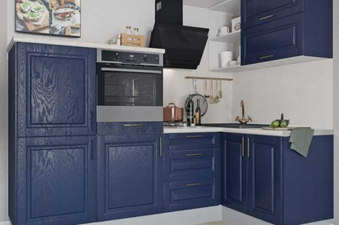 Синий цвет кухни — сочетание синего цвета в дизайне кухни, обзоры новинок стильного оформления (120 фото)